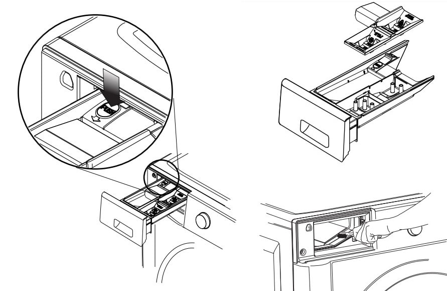 Cleaning Dispenser Drawer Area