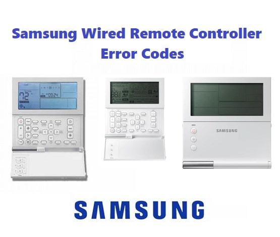 Samsung Wired Remote Controller Error Codes