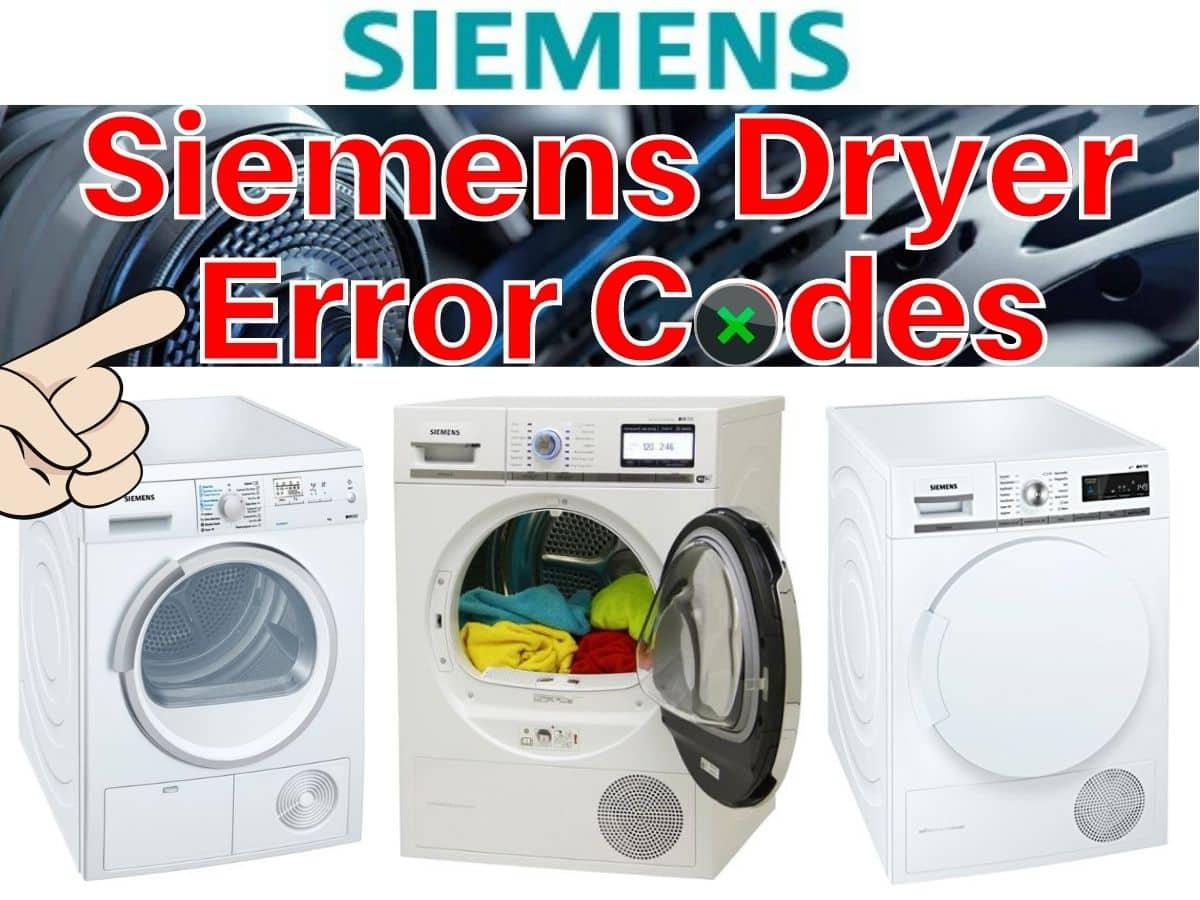 Siemens Dryer Error Codes and Troubleshooting